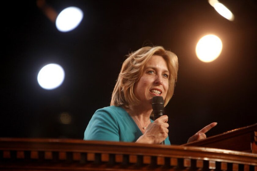 Wendy Greuel speaks at the City of Refuge Church in Gardena during the mayoral campaign.