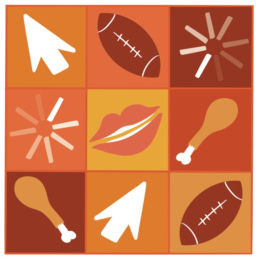 Illustration with nine squares represents a Zoom screen with icons including footballs, turkey legs and a pair of lips.