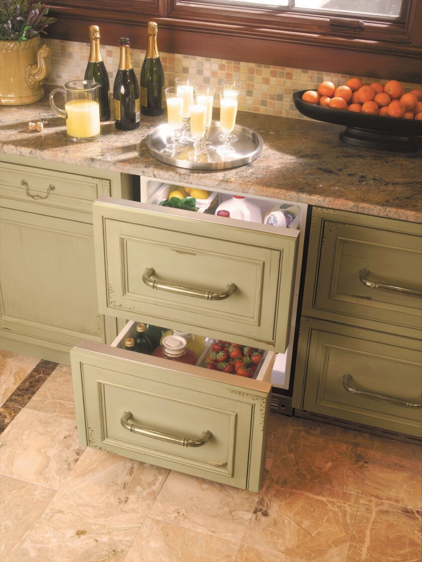 Paneled refrigerator drawers can help a morning kitchen blend into its space.