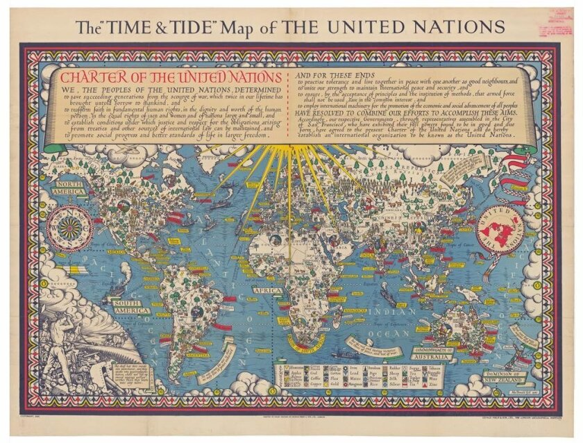 McDonald Gill created 'The Time and Tide Map of the United Nations' in 1948 to educate people about the countries in the early international association.