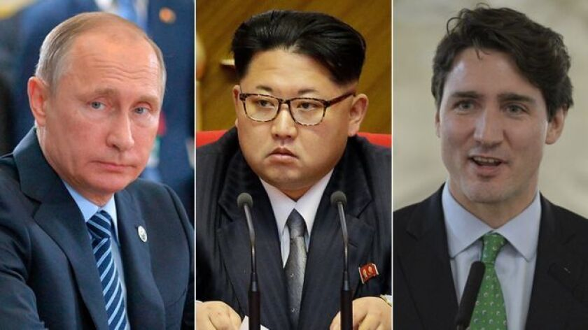 El presidente ruso Vladimir Putin (izquierda), el líder norcoreano Kim Jung-un (centro) y el primer ministro canadiense Justin Trudeau (derecha) estarán ausentes durante las honras fúnebres de Fidel Castro.