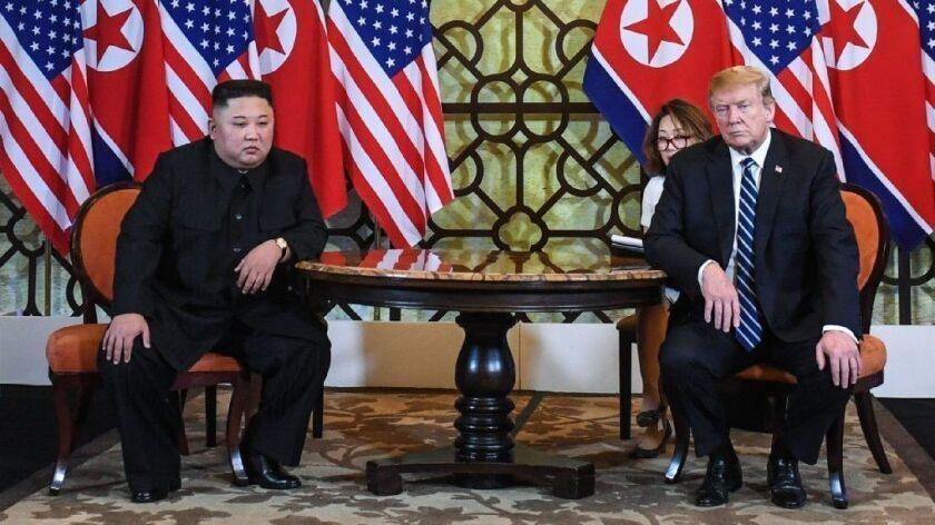 President Trump and North Korea leader Kim Jong Un meet in Hanoi on Feb. 28.