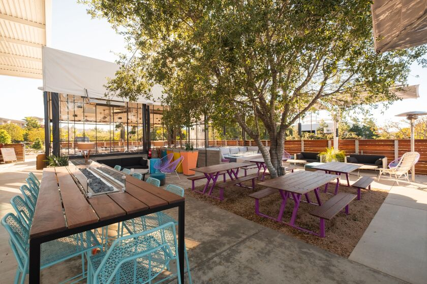 The new Gravity Heights brewery and restaurant has a huge patio.