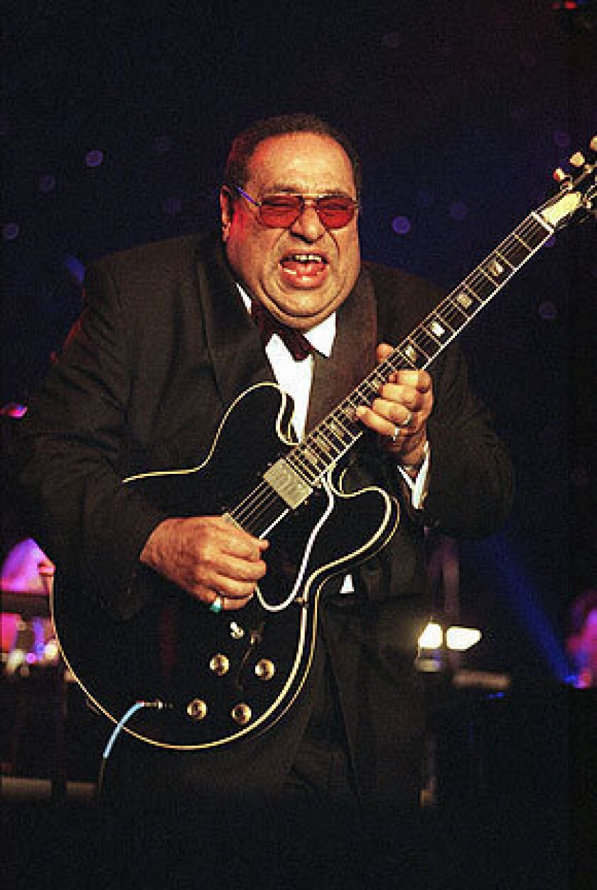 Mickey Baker entertains during the Rhythm & Blues Foundation 10th Annual Pioneer Awards on Feb. 25, 1999, in Culver City.