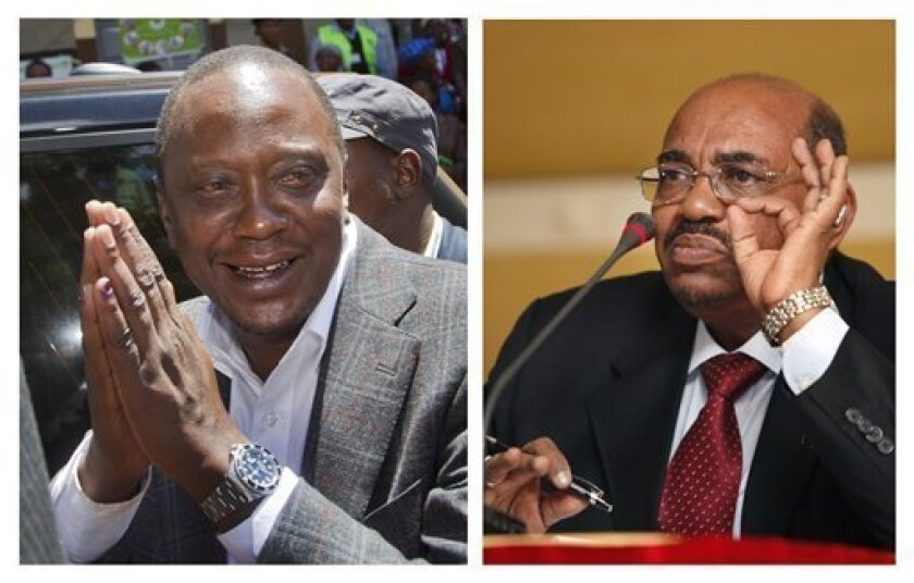 This combination image made from two file photos showing Kenyan President-Elect Uhuru Kenyatta, at left, gesturing to queuing voters after casting his vote near Gatundu, north of Nairobi, in Kenya Monday, March 4, 2013, and the photo at right, showing Sudanese President Omar al-Bashir speaking to reporters during a visit to Tripoli, Libya Saturday, Jan. 7, 2012. A top Kenyan official said Monday April 8, 2013, that Sudanese President Omar al-Bashir is not traveling to Nairobi to attend Tuesday'