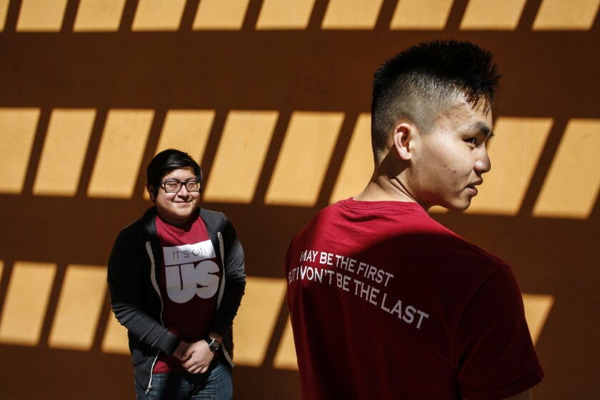 CLAREMONT, CA, THURSDAY, MARCH 14, 2019 - Claremont-McKenna College students Tony Chau, right, and J
