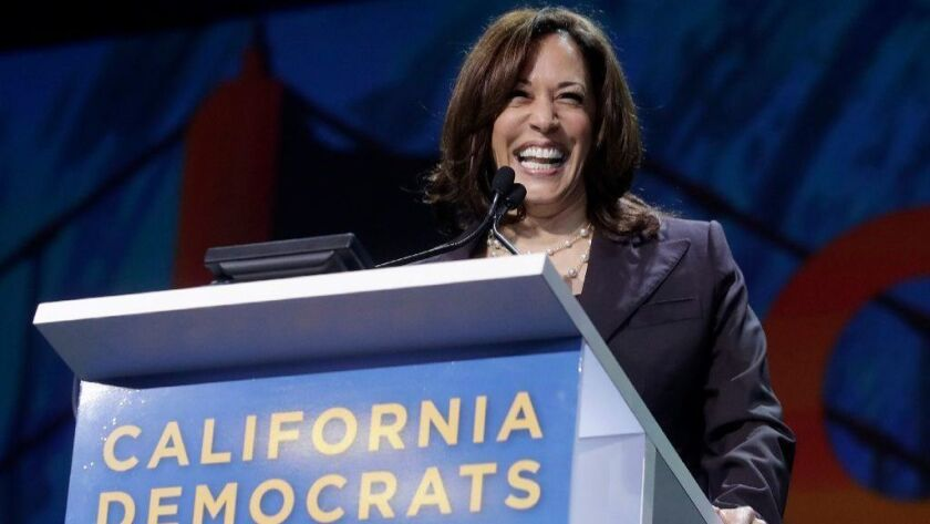 Presidential candidate Sen. Kamala Harris speaks during the 2019 California Democratic Party State Organizing Convention in San Francisco on June 1.