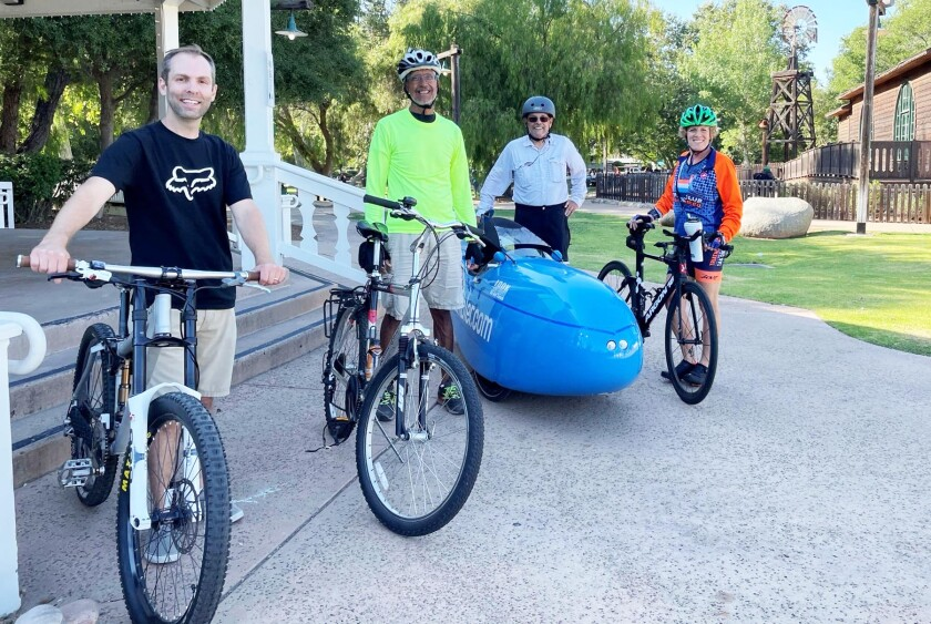 The Poway Bicycle Coalition, from left: Brian Pepin, Bernie Guzmán, Neil Schneider and Tracy Roth.