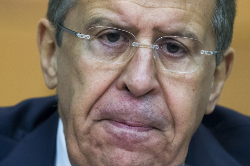 Russian Foreign Minister Sergey Lavrov attends his annual news conference in Moscow, Russia Tuesday, Jan. 26, 2016. (AP Photo/Ivan Sekretarev)