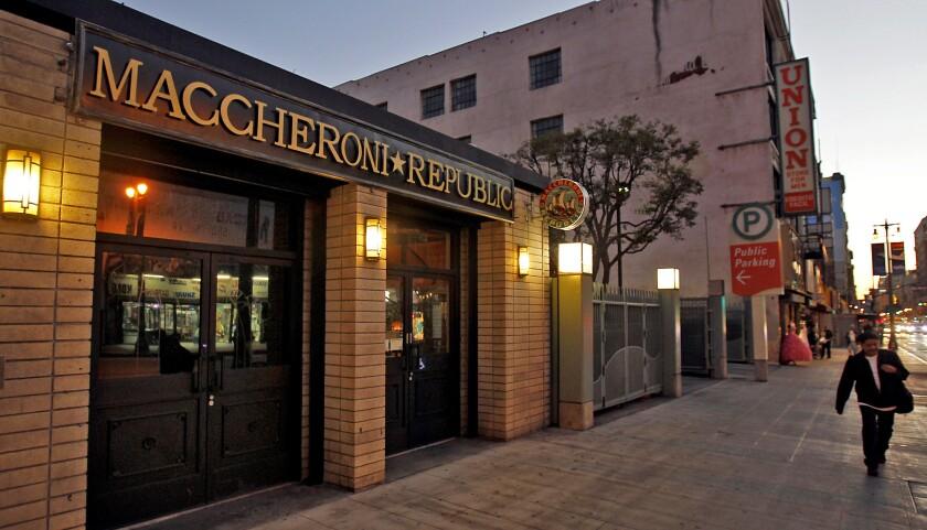 LOS ANGELES, CA-JAN. 14, 2014: An exterior view of Maccheroni Republic Restaurant, located at 332 S.