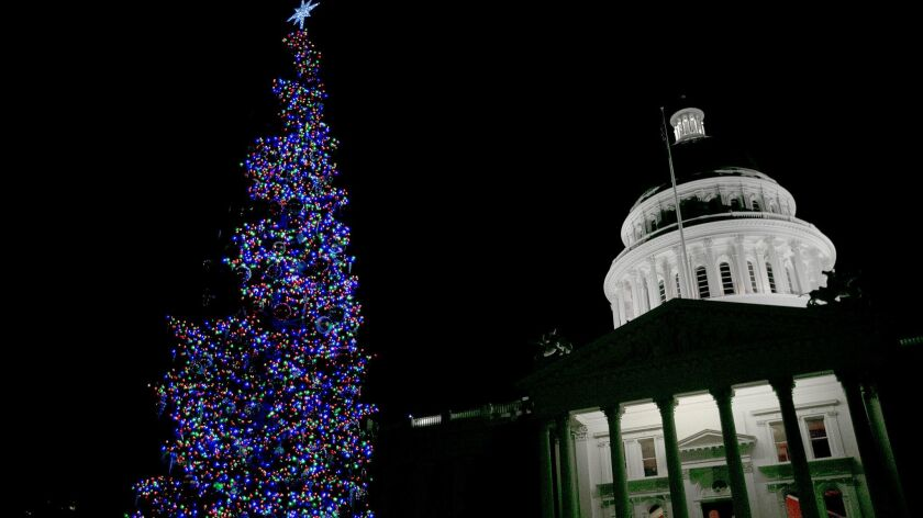 The Capitol Christmas Tree glows after lighting ceremonies held by Gov. Jerry Brown and his wife, An