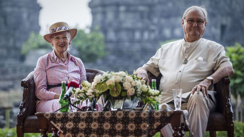 Prince Henrik and Queen Margrethe during a 2015 visit to Yogyakarta, Indonesia.