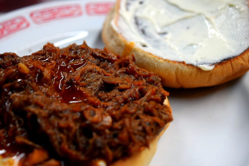 The barbecue beef sandwich at Little Jewel, with Blue Plate mayonnaise.