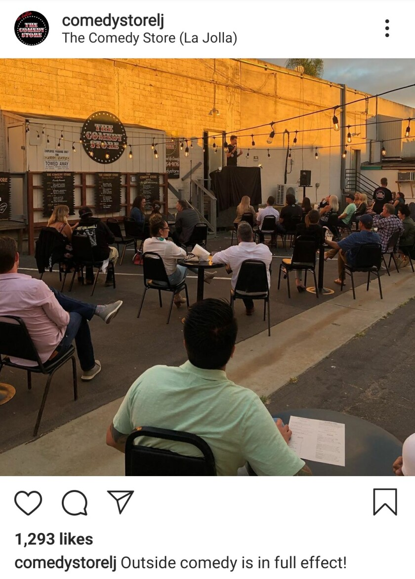 An Instagram post shows how the La Jolla Comedy Store's outdoor shows operated in July.