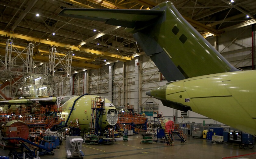 C-17 military cargo planes at Boeing's Long Beach factory