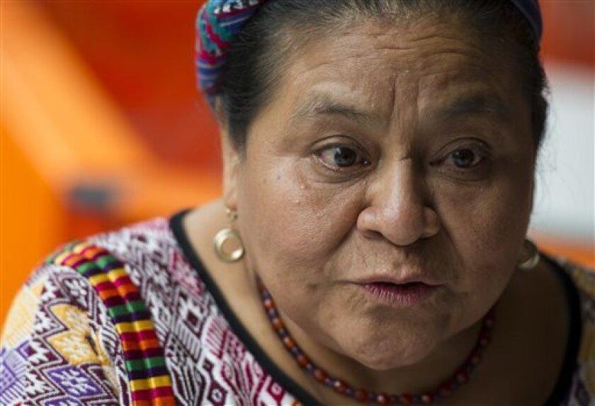 La premio Nobel de la paz Rigoberta Menchú durante una entrevista pidió que la organización internacional intervenga contra el discurso 'racista' del candidato presidencial.