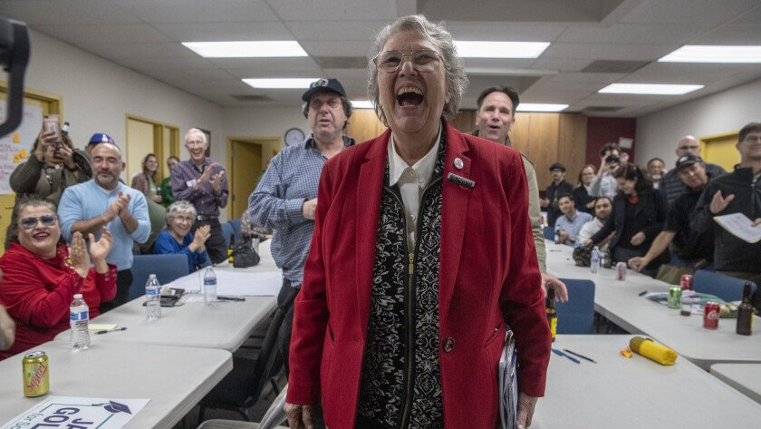 School board candidate Jackie Goldberg, at a campaign gathering in Westlake, is thrilled with early returns giving her a strong lead in the race for a pivotal L.A. school board seat.