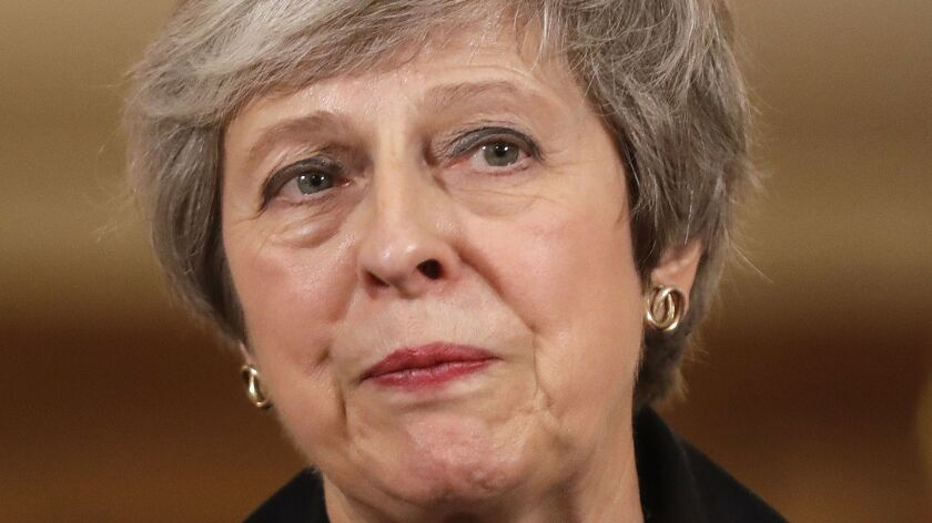 Britain's Prime Minister Theresa May speaks during a news conference at 10 Downing Street on Thursday.