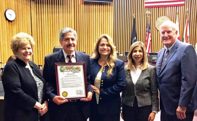 Former DA Bonnie Dumanis, left, ADA Jesse Rodriguez, his wife Teresa (right), DA Summer Stephan and Supervisor Greg Cox