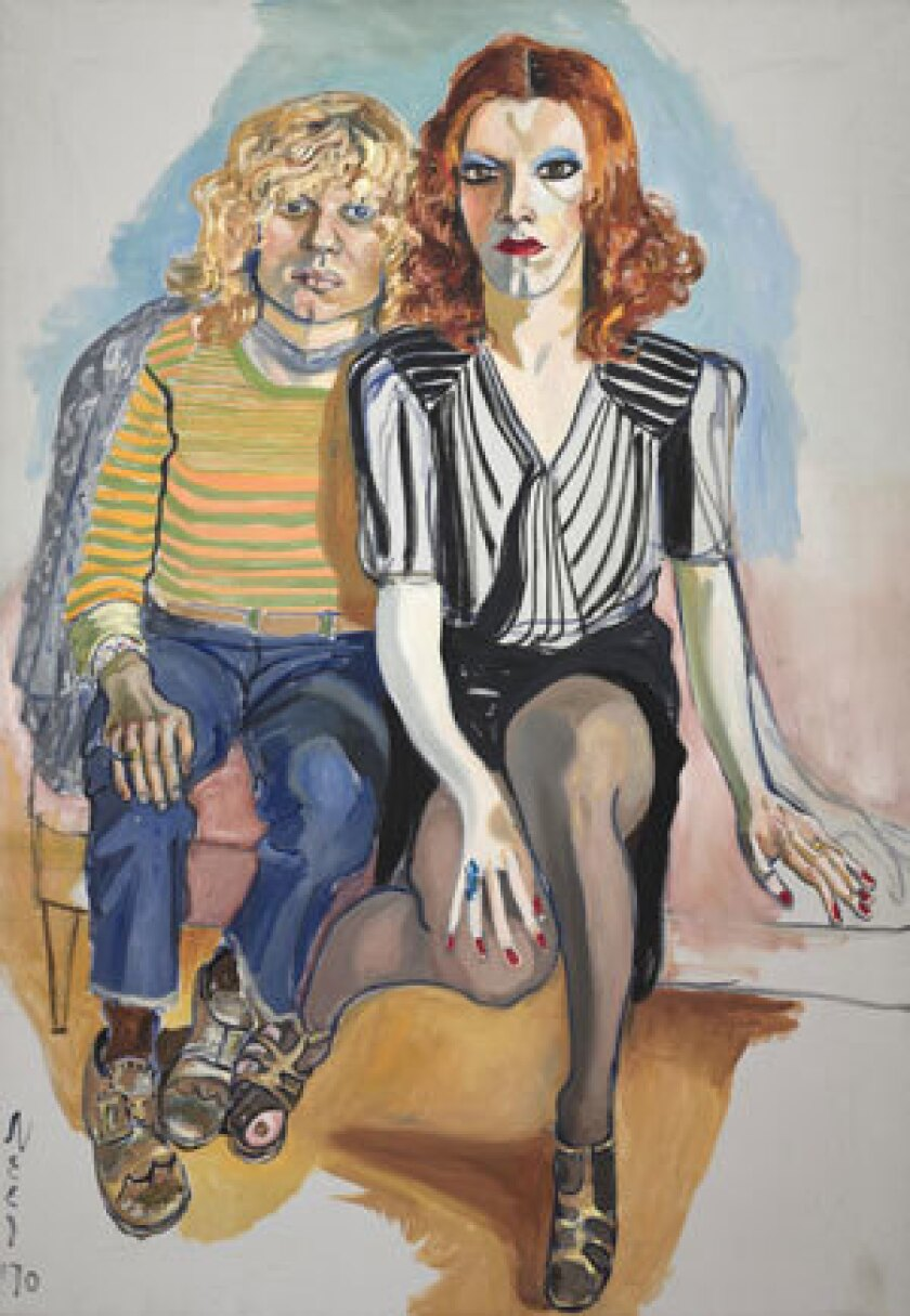 'Jackie Curtis and Ritta Redd', 1970, Oil on canvas, 60 x 42 inches, by Alice Neel.