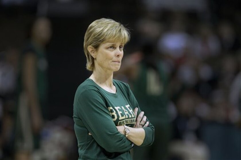 Baylor head coach Kim Mulkey watches practice at the NCAA Women's Final Four college basketball tournament in Denver, Saturday, March 31, 2012. Baylor takes on Stanford in a national semifinal on Sunday. (AP Photo/Julie A. Jacobson)