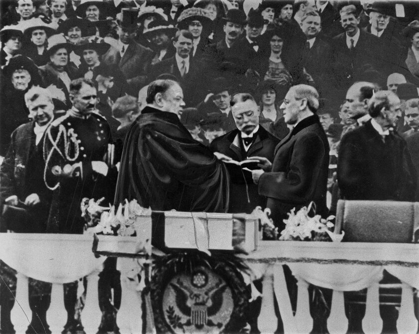 FILE-  In this March 4, 1913 file photo, Woodrow Wilson takes the oath of office for his first term of the Presidency in Washington. Princeton University has started a scholarly examination of the legacy of alumnus and former President Woodrow Wilson as part of an agreement with students who staged