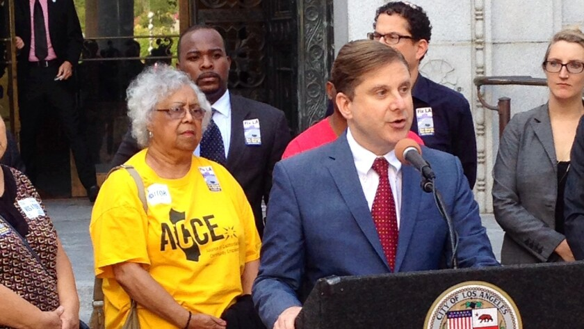 City Controller Ron Galperin at Tuesday's news conference on foreclosure registry.