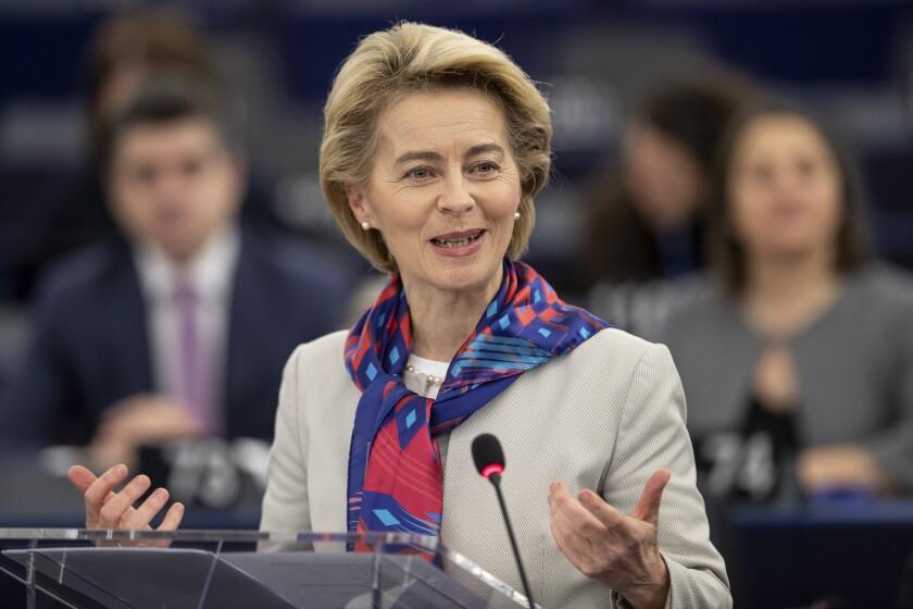 European Commission President Ursula von der Leyen, speaking Jan. 14 to the European Parliament, has made climate change a priority.