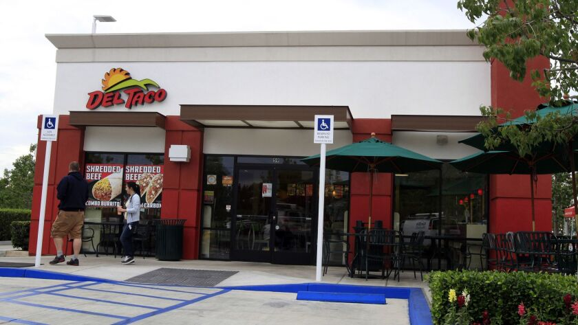 A Del Taco restaurant in Irvine is shown. The chain is facing a sexual harassment lawsuit after employees at a Del Taco in Rancho Cucamonga were accused of unwanted comments and touching.