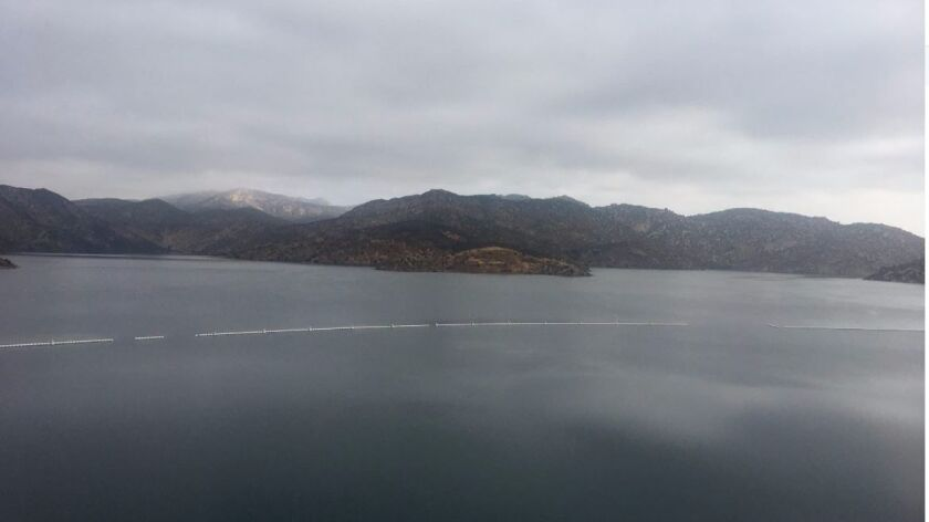 The San Vicente Reservoir, site of a potential pumped energy storage project.