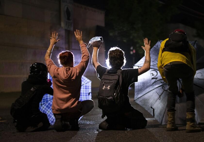 Protesters in Portland, Ore.
