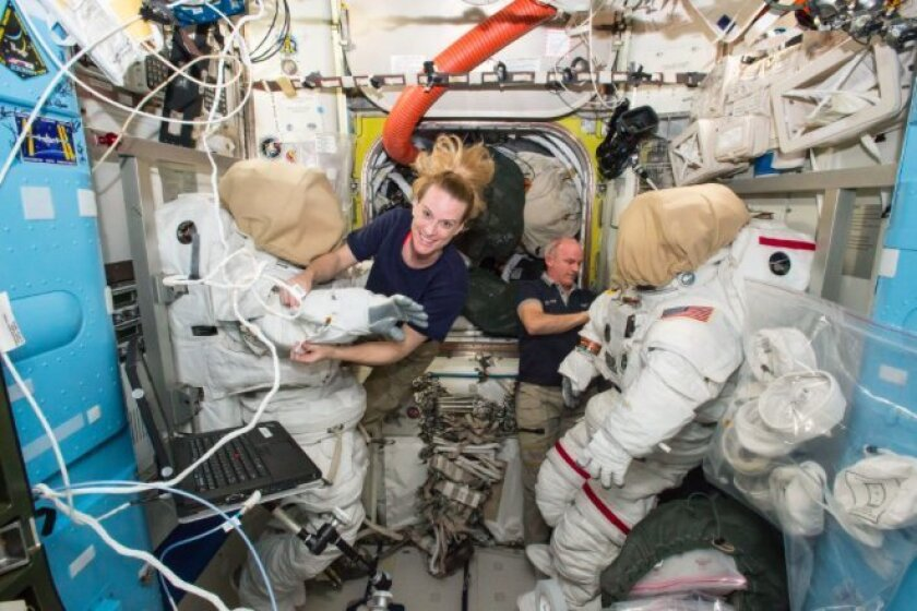 Kate Rubins and Jeff Williams, shown here, will upgrade the International Space Station during Friday's spacewalk.