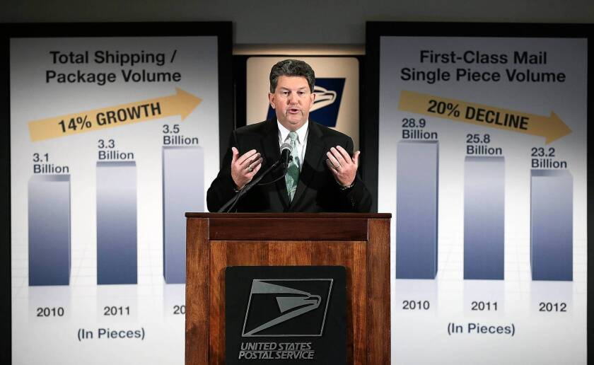 Postmaster General Patrick Donahoe announces plans to end Saturday mail delivery amid mounting losses.
