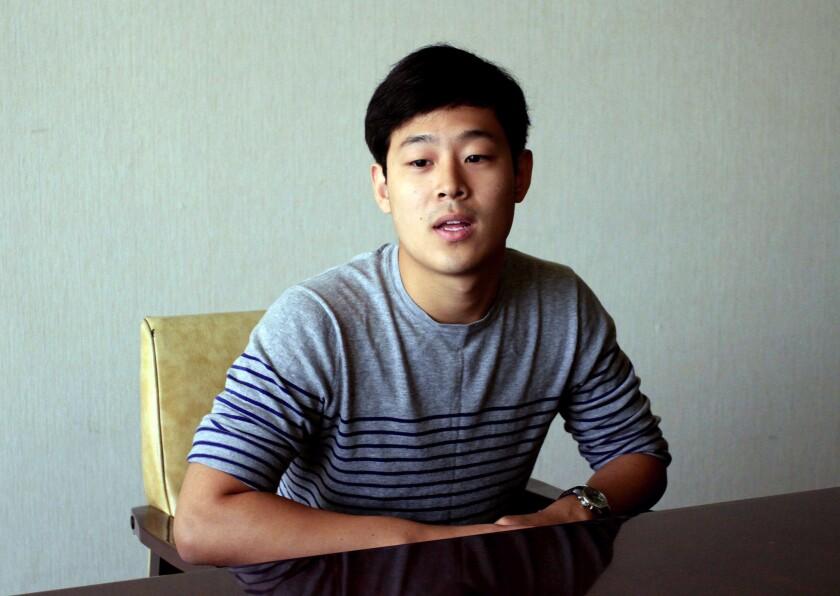 Joo Won-moon is interviewed at the Koryo Hotel in Pyongyang, North Korea, on July 14.