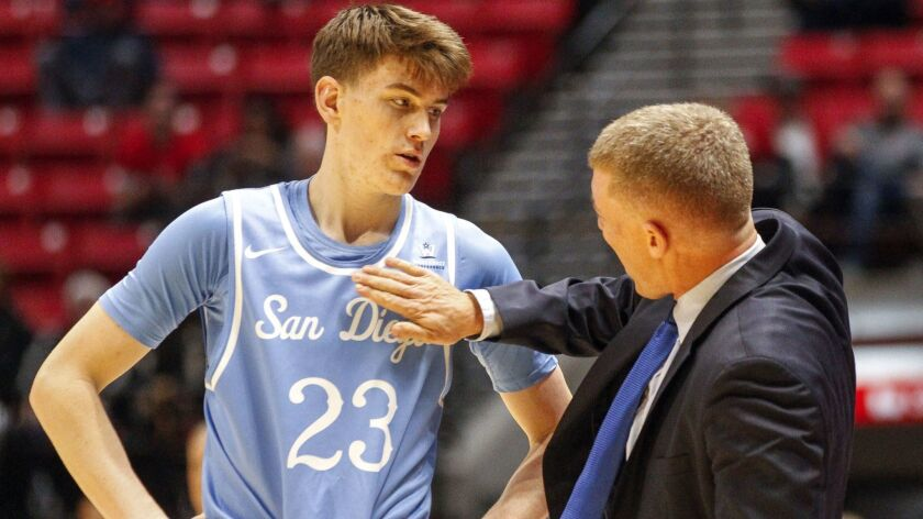 Toreros coach Sam Scholl slaps Finn Sullivan in the chest as he talks to him in the final minutes of USD's victory against the Aztecs at the Viejas Arena in San Diego on Wednesday.