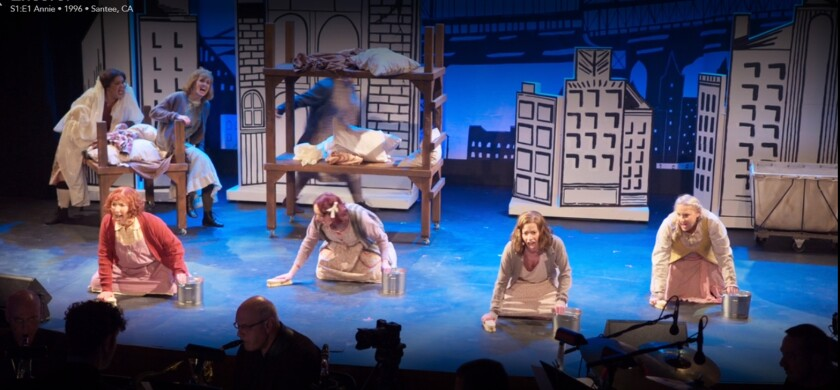 "A scene from the ""Annie"" encore, filmed for the Disney+ series ""Encore!"" at the Avo Playhouse in Vista last February."