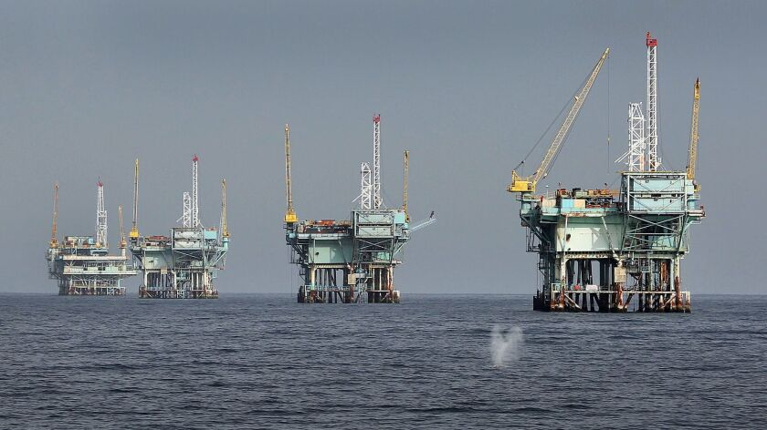Oil companies may have trouble justifying the cost of new offshore developments at a time when hydraulic fracturing on land is cheaper. Above, rigs in the Santa Barbara Channel in March 2015.