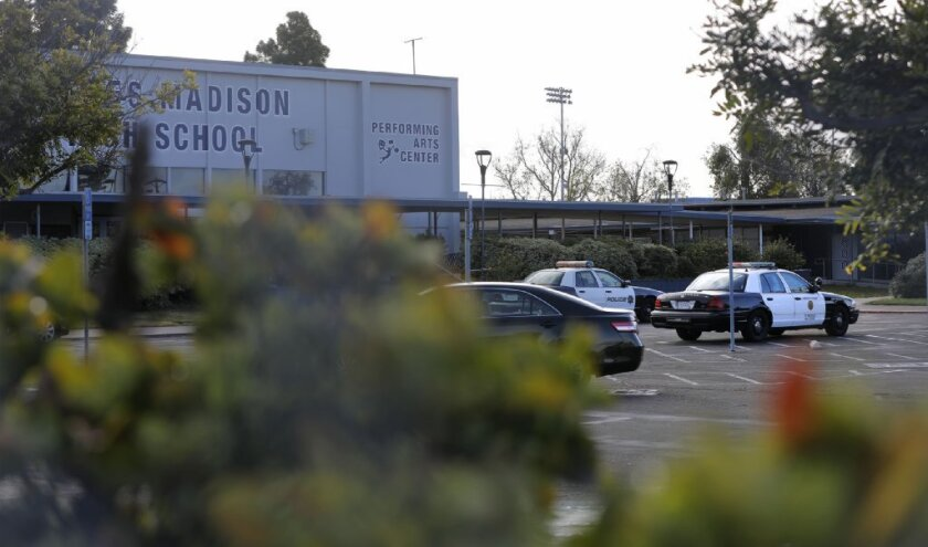 SAN DIEGO, CA: FEBRUARY 22, 2018: A police presence is evident at Madison High School in Clairemont Thursday morning after an unsubstantiated shooting threat was received at Madison and two other schools in the county.