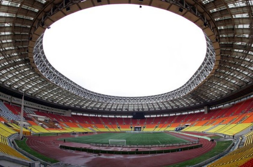 Moscow's Luzhniki Stadium is about to undergo a multiyear closure for renovation as a venue of the 2018 World Cup soccer championship. The rainbow color scheme of the seating, depicted in this 2007 file photo, may not survive the refurbishment now that it is associated with support for gay rights.