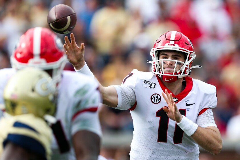 Georgia quarterback Jake Fromm passes during the Bulldogs' win over Georgia Tech.
