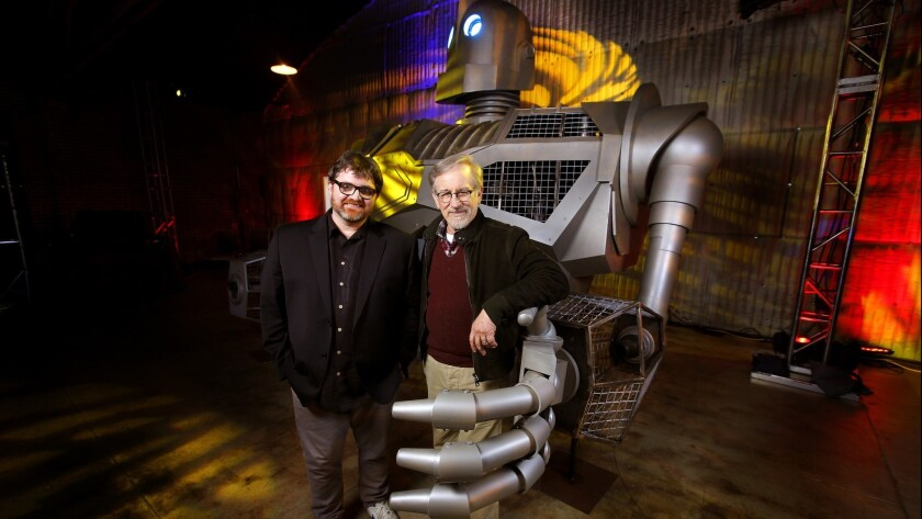 HOLLYWOOD, CA., MARCH 14, 2018--Steven Spielberg and author Ernest Cline together with the Iron Gian