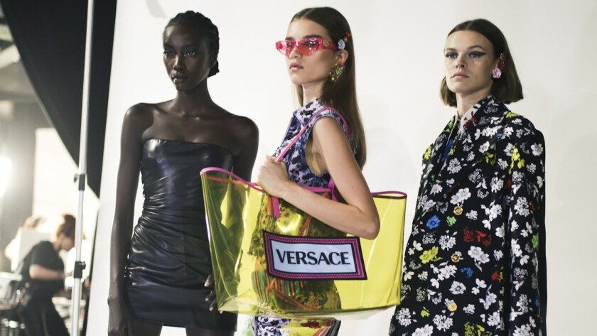 A look backstage at the Versace Spring 2019 ready-to-wear show in Milan.