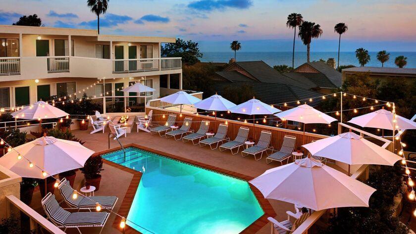 The pool and a view of the coast from the Laguna Beach House in Laguna Beach, California.