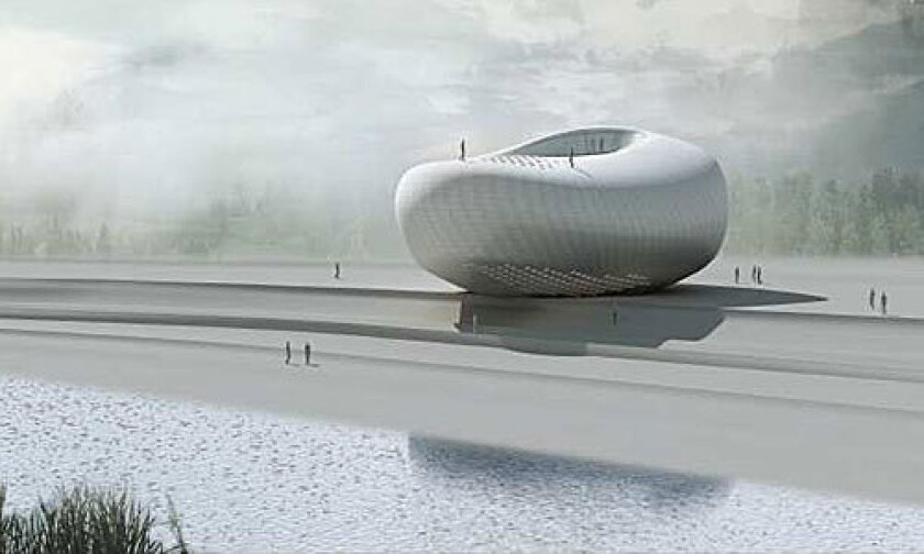 NOVELTY: Pei Zhu's proposal for the Art Museum of Yue Minjun resembles a river stone.