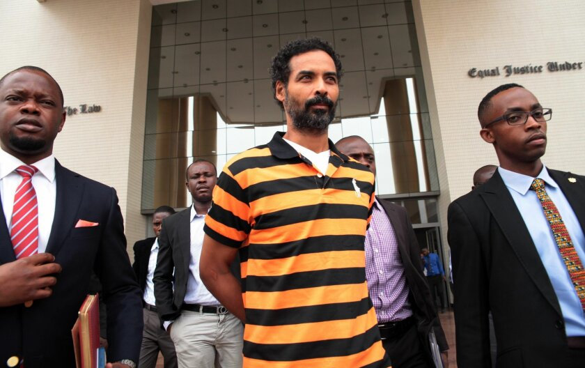 """Arthur Simpson-Kent after his appearance for extradition to Britain at the Law court complex in Accra, Ghana, Tuesday, Jan. 26, 2016. Arthur Simpson-Kent, 48, who was the boyfriend of former """"EastEnders"""" actress Sian Blake, appeared in a magistrate court in Ghana for the second time for extradition to Britain, for possible murder charges. (AP Photo/Christian Thompson)"""