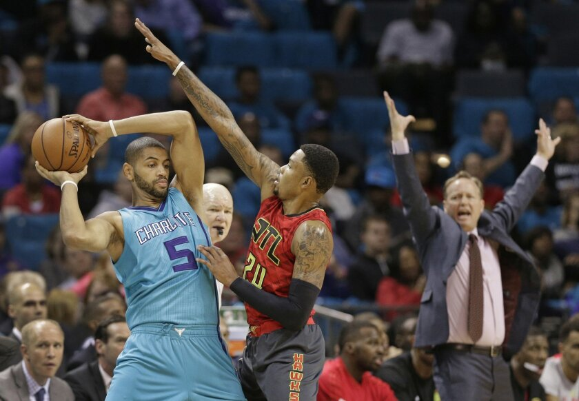 Atlanta Hawks head coach Mike Budenholzer, right, raises his arms as Kent Bazemore (24) guards Charlotte Hornets' Nicolas Batum (5) in the first half of an NBA basketball game in Charlotte, N.C., Sunday, Nov. 1, 2015. (AP Photo/Chuck Burton)