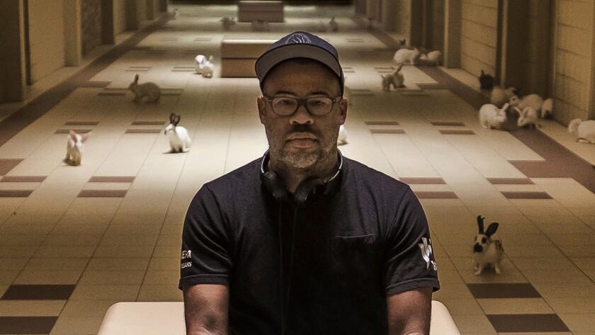 "Writer-producer-director Jordan Peele on the set of his film, ""Us."" Credit: Claudette Barius/Univers"