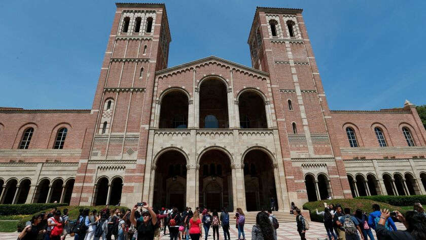 WESTWOOD, CA -- WEDNESDAY, APRIL 13, 2016: Students view Royce Hall at UCLA in Westwood, CA, on Apri
