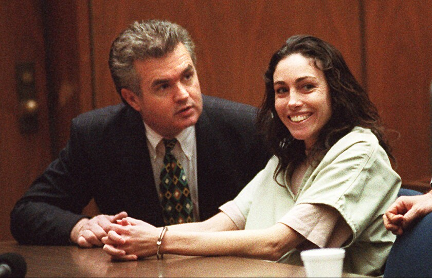Heidi Fleiss, who became known as the Hollywood Madam, with attorney Anthony Brooklier before her 1997 sentencing.