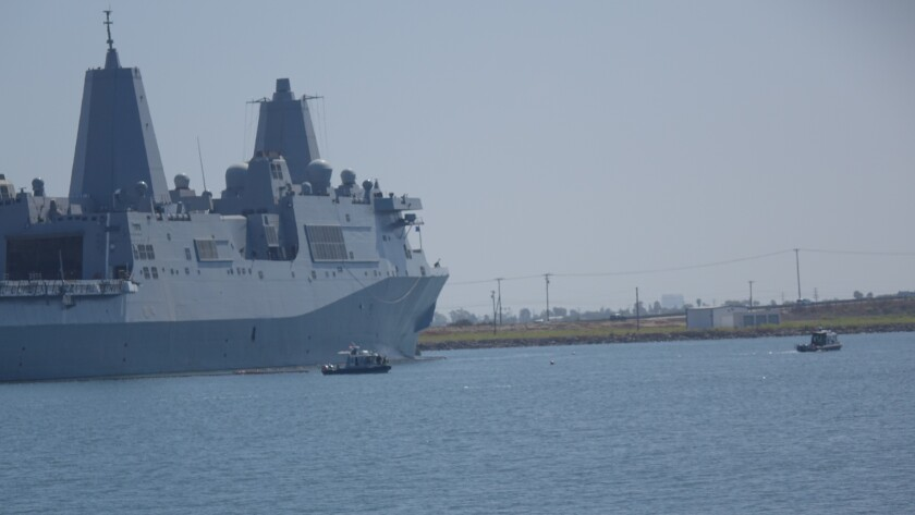 The amphibious transport dock ship New Orleans at the Naval Weapons Station Seal Beach on Aug. 29, 2019. The base's primary missions are to store ordnance for the Navy and Marine Corps, load and unload ammunition and maintain weapons on warships departing San Diego.